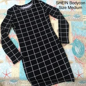SHEIN Square Pattern Black & White Bodycon Size M